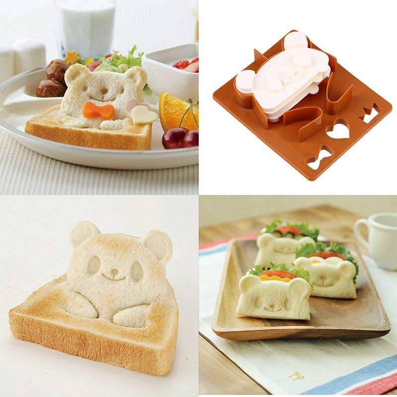 WHISM DIY Plastic Toast Sandwich Cutter Panda Frog Bear Bread Shaper Breakfast Lunch Bento Maker Set Cake Mold Baking Tool Kit