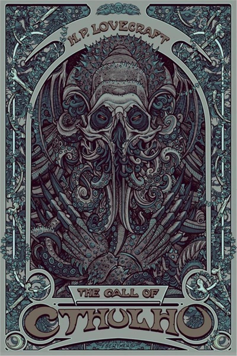 Decoración nórdica H. P. Cuadro sobre lienzo para pared Lovecraft Cthulhu, póster nuevo, imagen abstracta para decoración de sala de estar