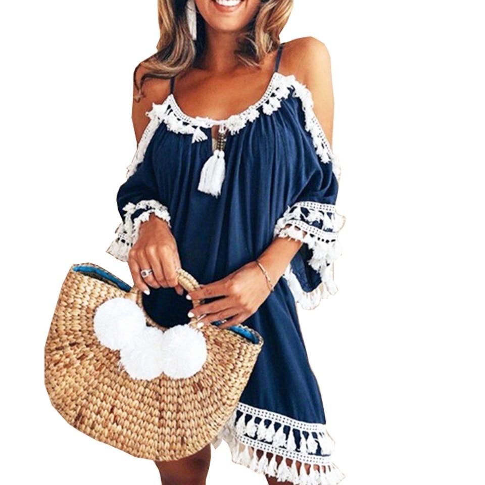 Vestido de ombro frio de franja branco, vestido de crochê, suspensório, hippie, boho, roupas femininas casuais, robe ete 2019
