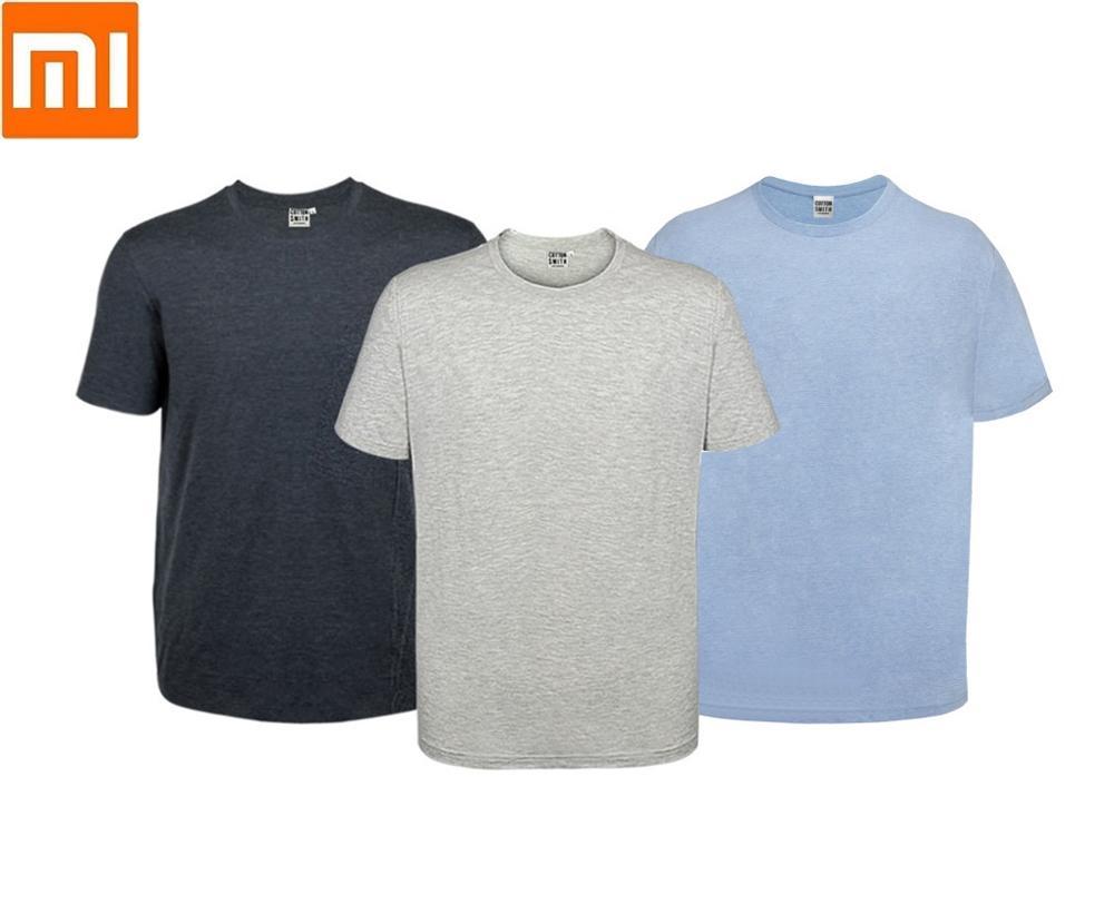2 шт./лот, Мужская хлопковая футболка Xiaomi Smith, свободная удобная мягкая дышащая летняя футболка