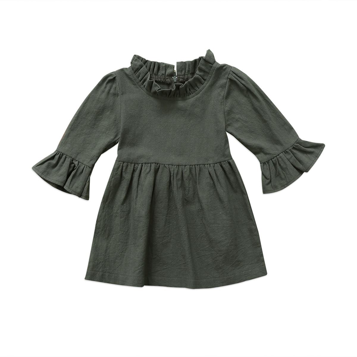 Ropa de vestir para niño pequeño, Chico, bebé, ropa de otoño para niña, vestido de cuello alto de manga volante verde militar sólido de tres cuartos