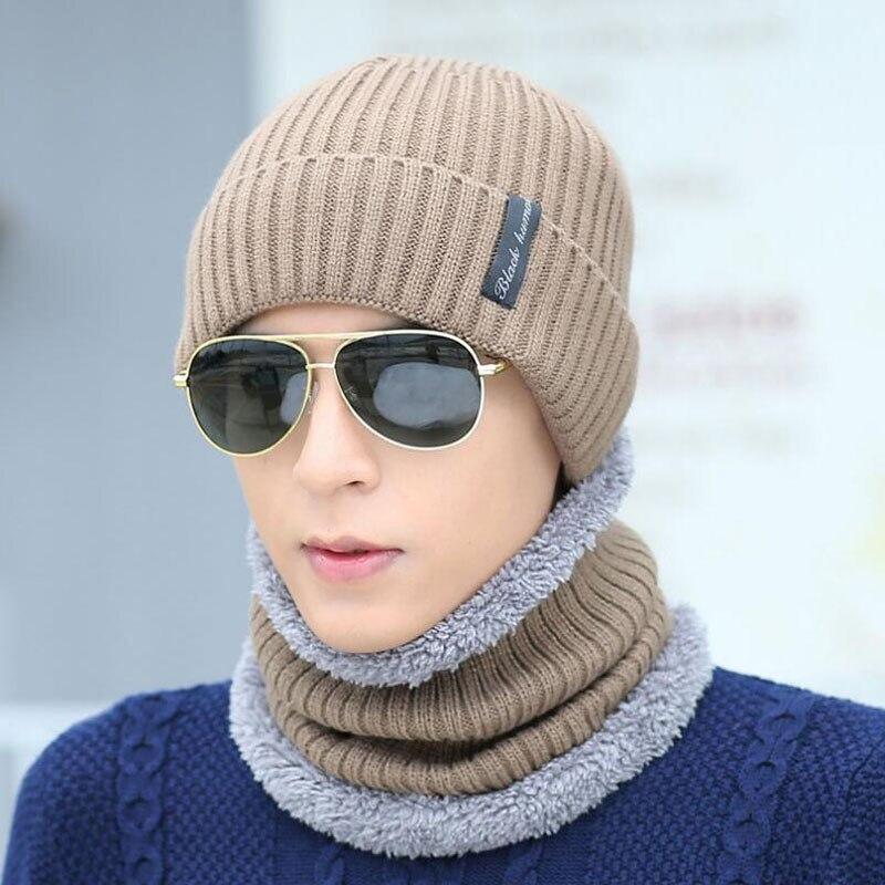 BING YUAN HAO XUAN sombrero de punto de lana sombrero de invierno al aire libre gorras de esquí para hombres Skullies gorras de máscara bufanda gorro