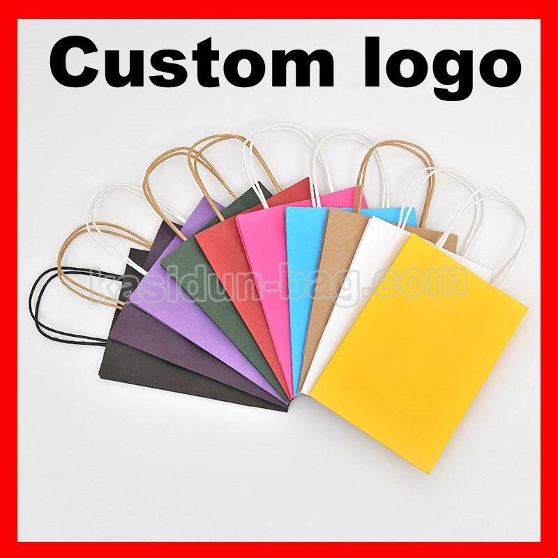 (1000 pçs/lote) tamanho W21xH27x11cm personalizado saco de papel kraft com logotipo