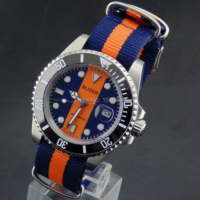 BLIGER 40mm fecha Día automático hombres relojes negro bisel correa de nylon
