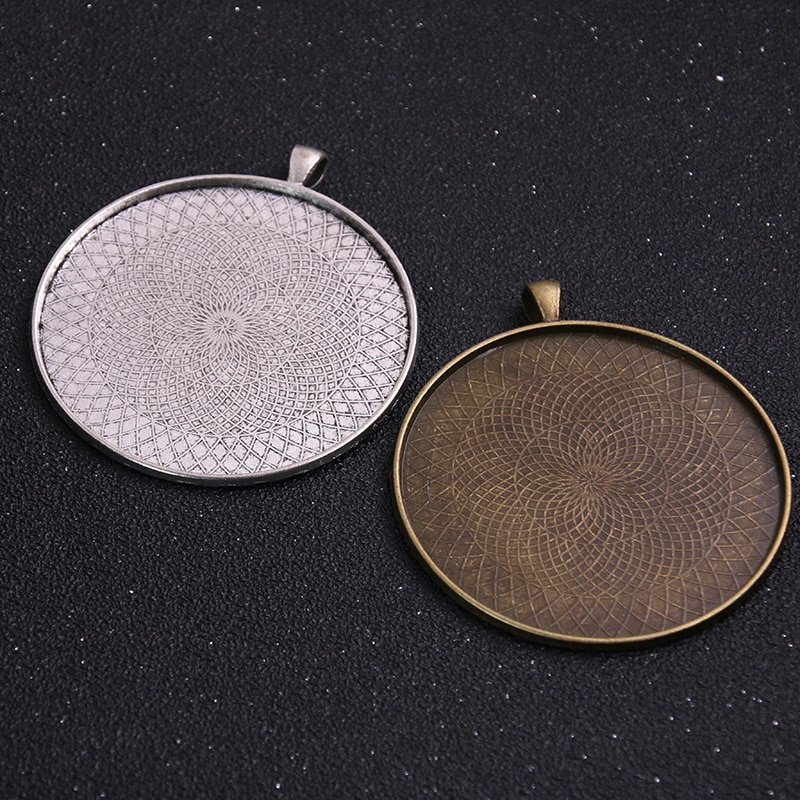 2pcs 45/50/58mm Inner Size 2 Colors Plated Classic Style Cabochon Base Setting Charms Pendant Tray