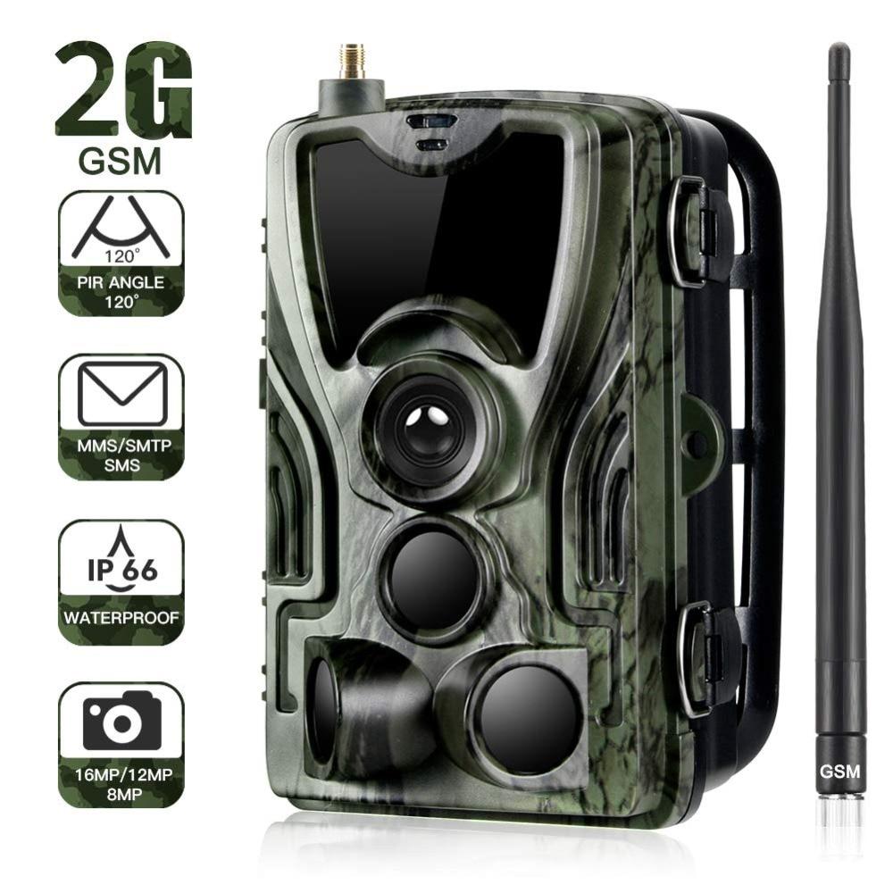 كاميرا 2G MMS SMS SMTP Trail الحياة البرية 20 ميغا بيكسل 1080P للرؤية الليلية الخلوية المحمولة الصيد كاميرات HC801M مصيدة الصور اللاسلكية