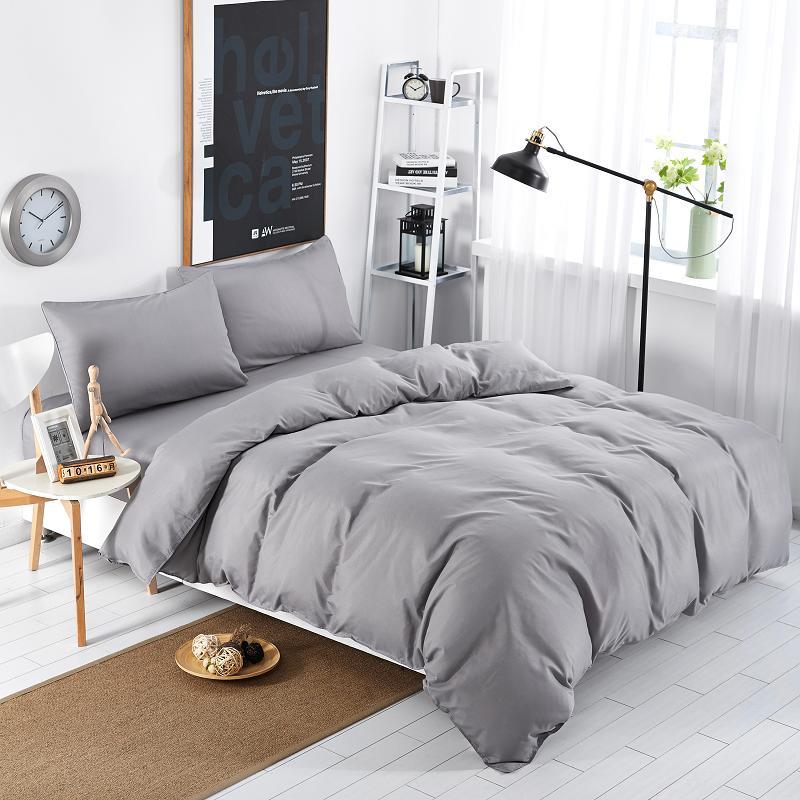 مجموعات مفروشات جديدة بسيطة ، ملاءة سرير مخططة باللون الأزرق ، بحيرة ، لحاف ، غطاء وسادة ، ناعم ، فضي ، رمادي ، كينغ ، كوين ، مزدوج