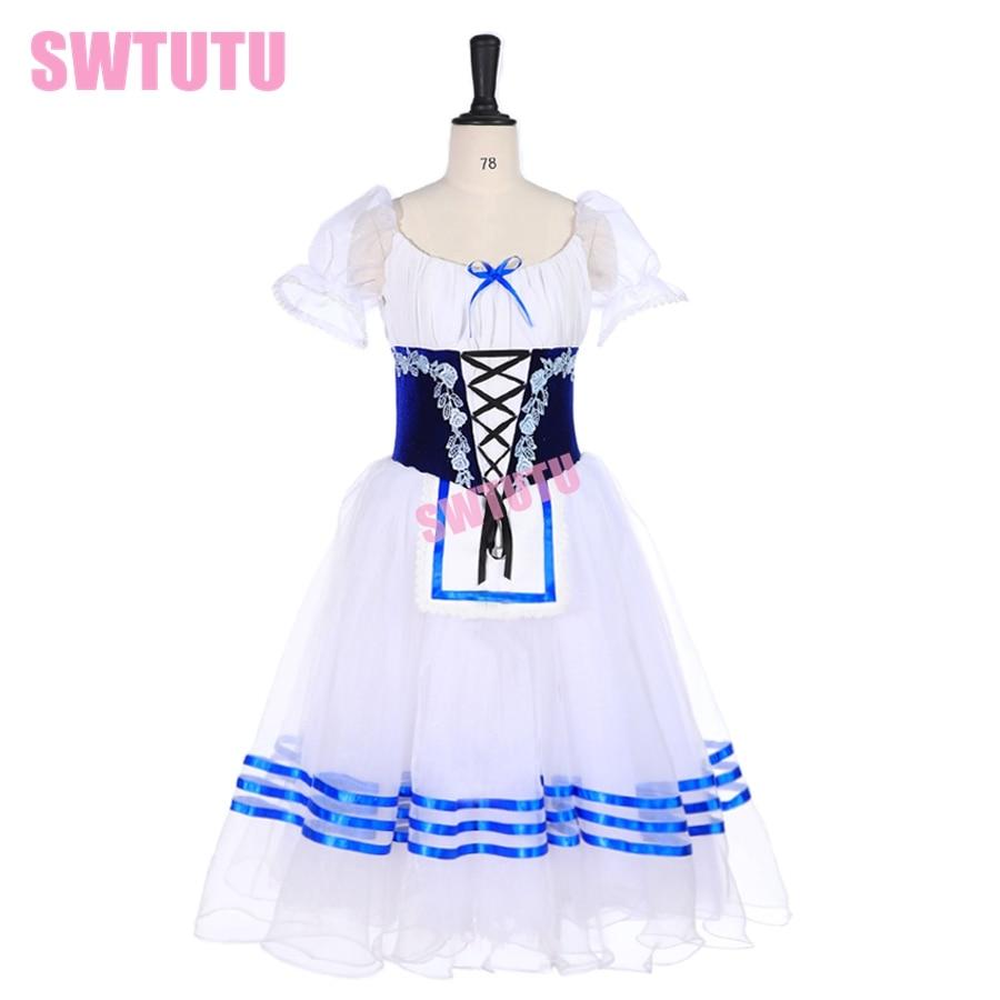 Giselle, disfraz de ballet blanco y azul, disfraz de ballet con tutú profesional, tutú de ballet largo, bailarina romántica, tutú Napoli, vestido de ballet BT9238