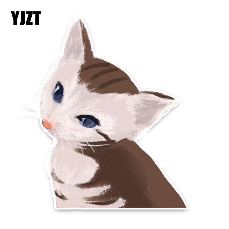 YJZT 11CM*14CM Funny Animal Cat PVC Car Styling Car Sticker Decal Car Decoration 5-1328