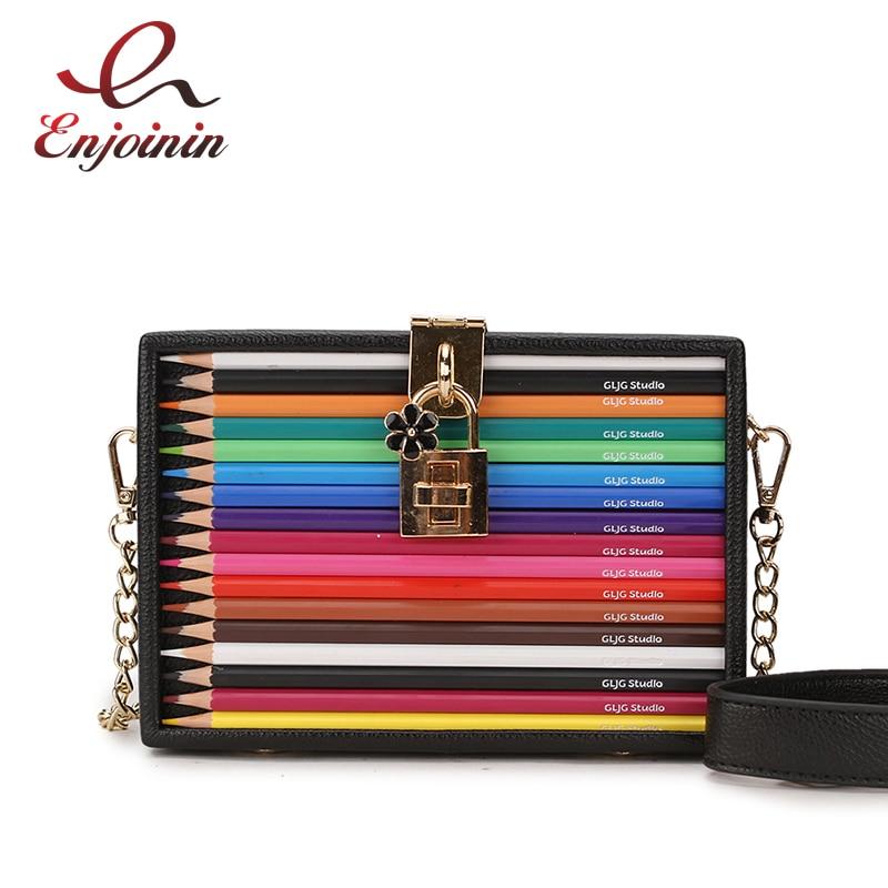 New Arrival Color Pencil Design Box Style Pu Ladies Party Clutch Bag Chain Purse Handbag For Women Crossbody Mini Messeng Bag
