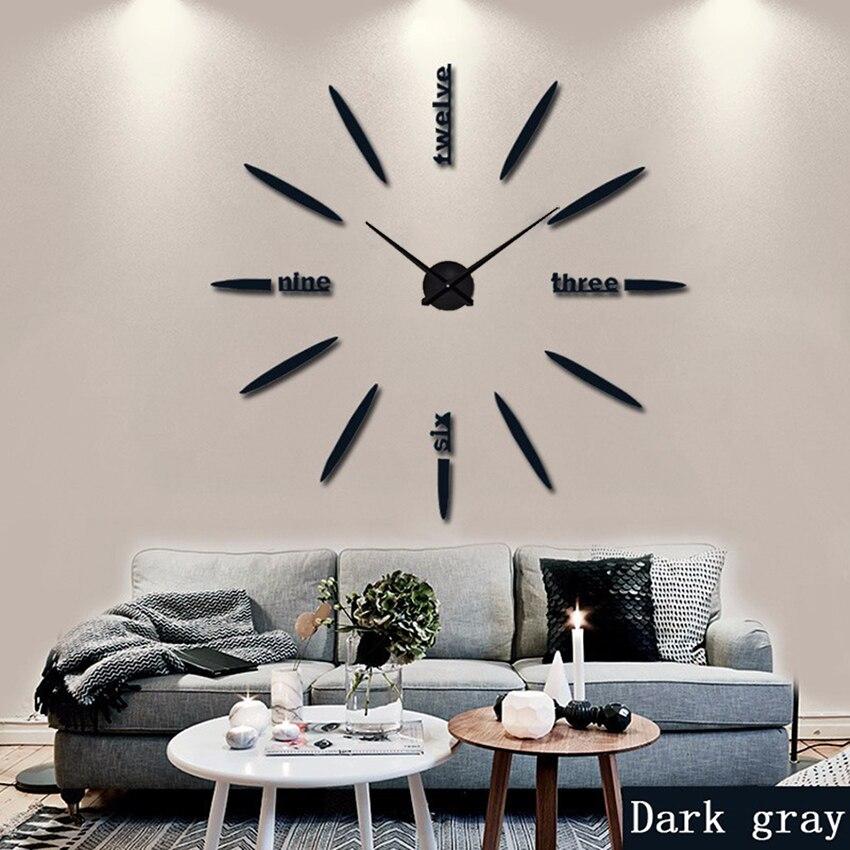130 cm Factory 2021 Wall Clock Acrylic+EVR+Metal Mirror Super Big Personalized Digital Watches Clocks hot DIY Free shipping