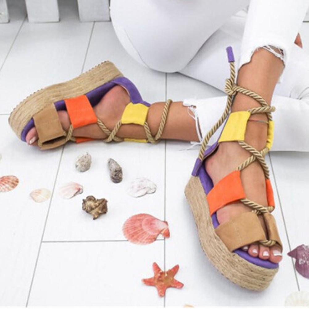 Verano Mujer Tacón de Cuña alpargatas Sandalias Mujer cáñamo cordones Boca de pescado puntiagudos sandalias para dama plataforma sandalias