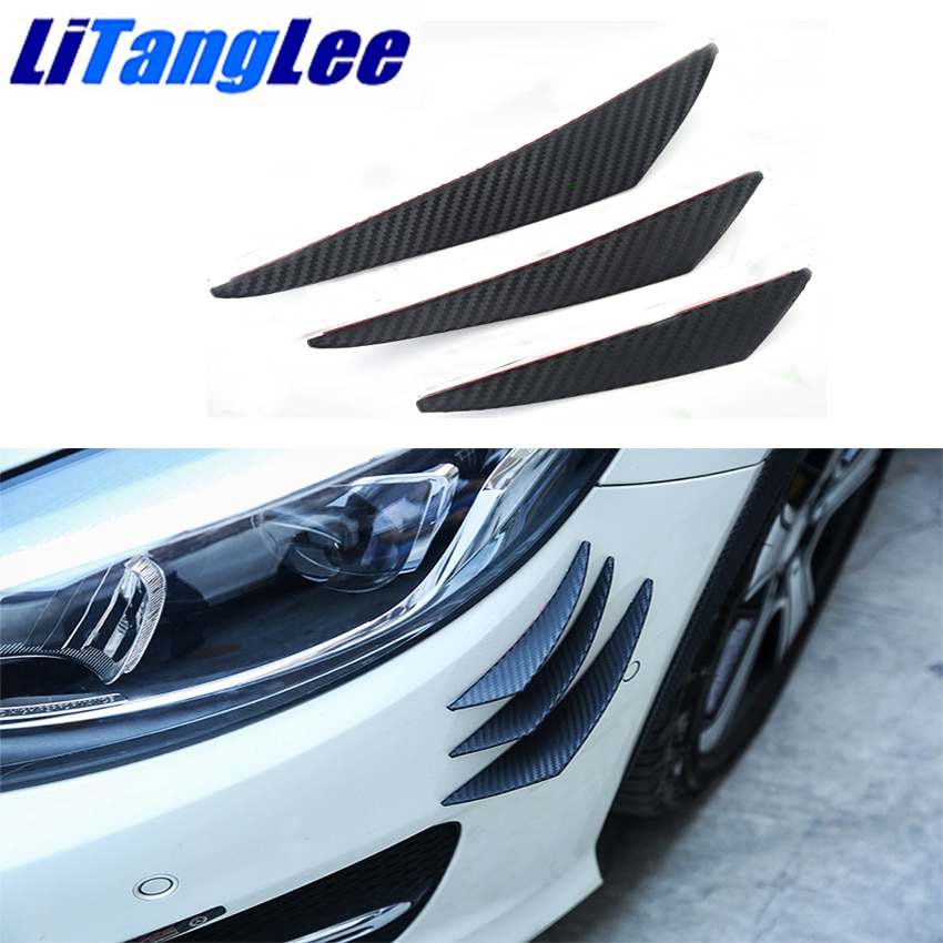 Litanglee For Hyundai Coupe Tiburon Tuscani Six pieces Car bumper air knife Black Carbon Fiber decoration Collision Avoidance
