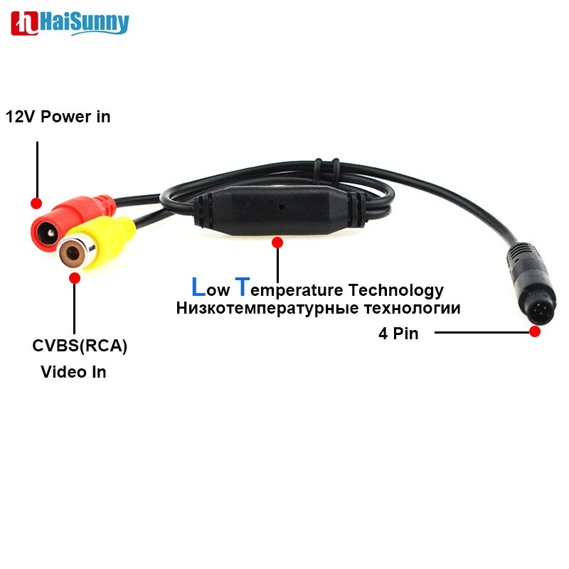 Carro Cabo de Vídeo CVBS RCA Fêmea Para 4 Pinos Macho Conector Para Monitores de Estacionamento Backup retrovisor Do Carro Espelho DVR gravador de Câmera
