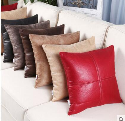 Modern minimalist washable simulation leather pillowcase Home sofa cushion cover Office car nap pillowcase