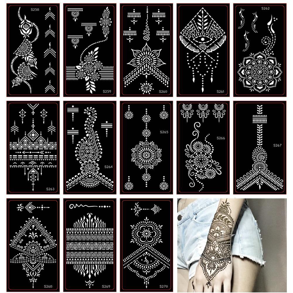 30pcs Female Airbrush Henna Tattoo Stencil Indian Temporary Glitter Tattoo Black Henna Template For Body Art Painting