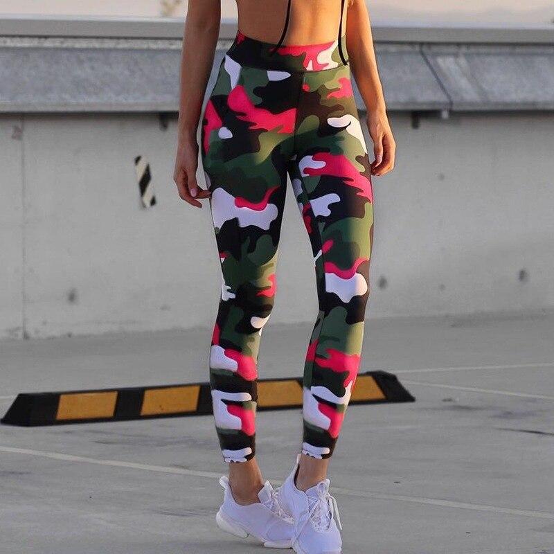 New Women Sports Yoga Pants Tight Leggings Camouflage Printed High Waist Trousers Female Running Fitness Sportswear