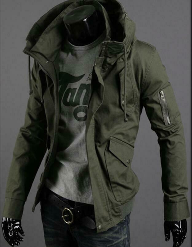جاكيت ربيعي بغطاء للرأس للرجال ، على الطراز الكوري ، عسكري ، نحيف ، معطف خارجي
