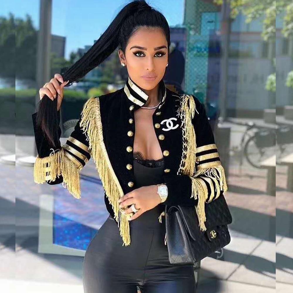 Fashion New Black with Gold Tassel Patchwork Button V Neck 2018 Sexy Short Jackets Women Autumn Winter Coat Verano Causal Club