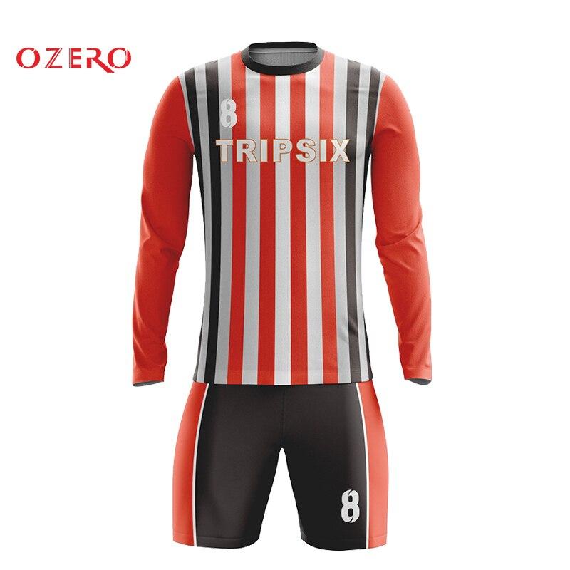 Miúdos do costume últimas novo projeto do bordado do poliéster camisa do jérsei de futebol de manga longa padrões