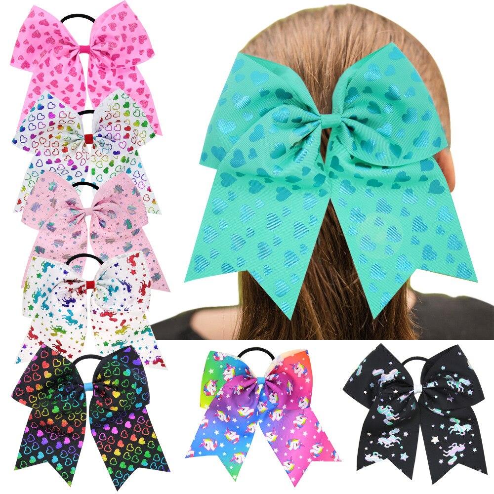 "8Pcs/lot 8""Handmade Large Ribbon Dovetail Bow With Elastic Hair Band Girls Kids unicorn printing Hair BowsHair Accessories"