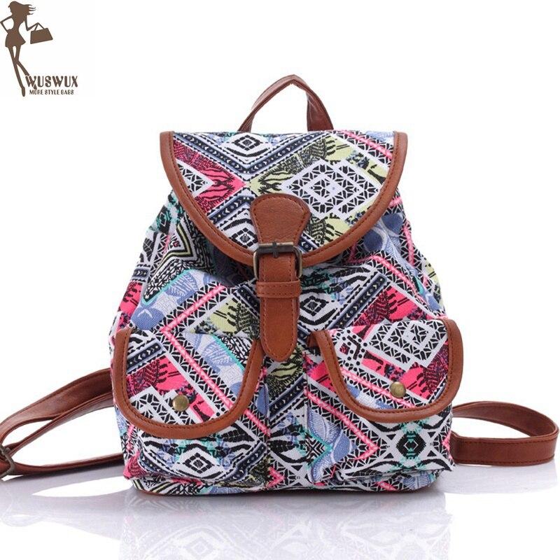 Mochila De mujer nueva moda mochilas estampadas en lona estilo nacional para niñas Mochila pequeña de viaje informal de buena calidad