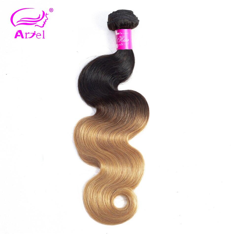 ARIEL Pré-Colored Hair 1/3 Bundles Loira Onda Do Corpo Do Cabelo Brasileiro Weave Bundles Ombre Cabelo Humano Bundles 2 Tom cabelo Remy 1b 27