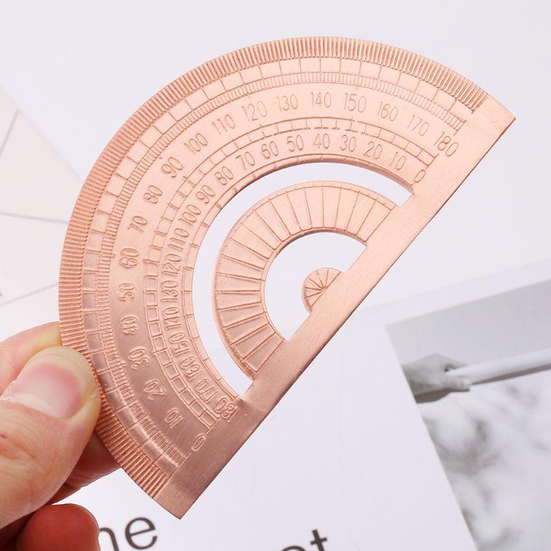 Rétro cuivre rapporteur règle demi-cercle dessin mesure maths géométrie outil pour étudiants papeterie