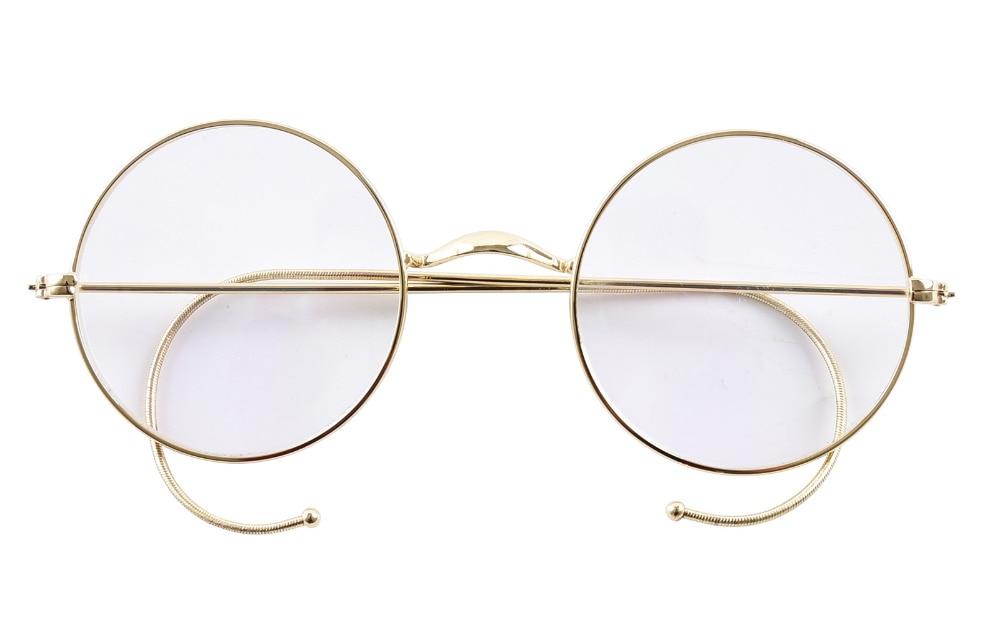 Agstum 47mm Runde Optische Seltene Draht Felge Rezept Stil Brillen Rahmen Ohne Nase Pads Antike Gläser Rx