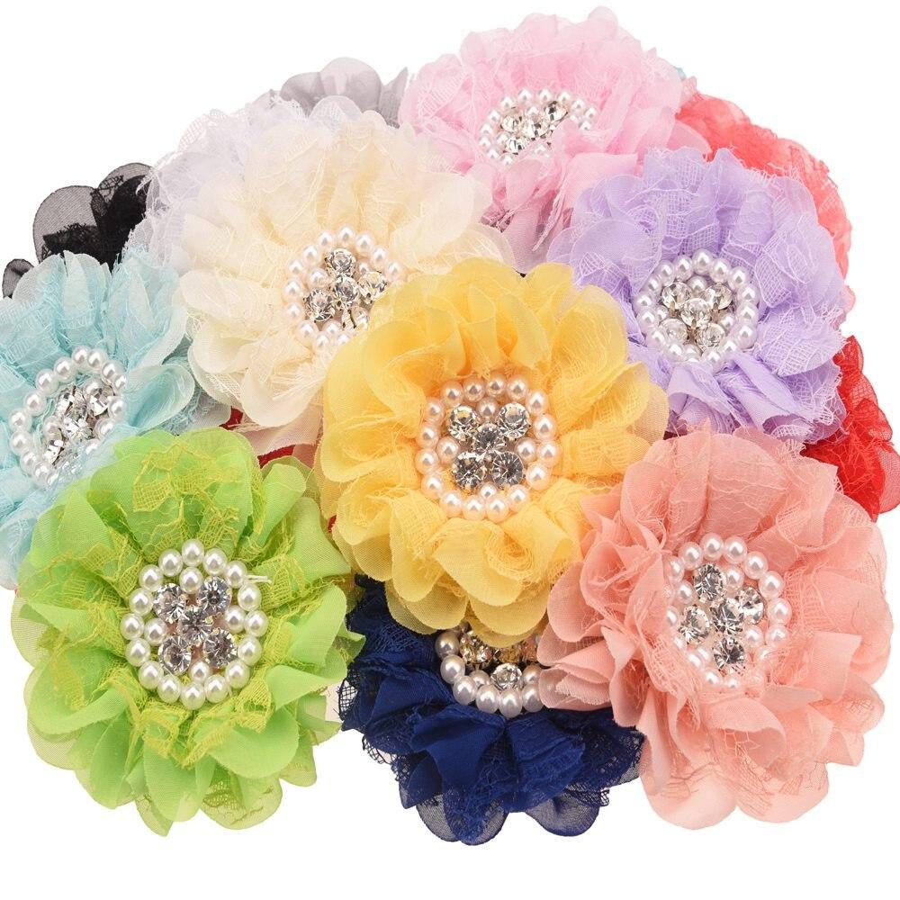 4 uds perla centro de diamantes de imitación de encaje de flores flor flores de roseta accesorios para el cabello hágalo usted mismo accesorios cabello Clips para diadema