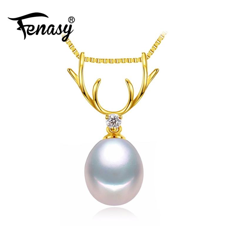 FENASY 18 K oro ciervo colgante perla joyería astas collares y 18 K oro amarillo colgante para los amantes enviar S925 collares de plata