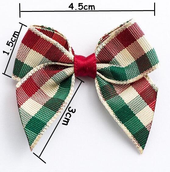 400pcs DHL  Free shipping  Tartan Ribbon Bows, Self Adhesive Ribbon Bows decorate favour boxes, for wedding stationery bows