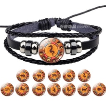 12 Bracelets Style zodiaque chinois animaux Rat serpent Dragon chien Vintage Bracelet en cuir noir Bracelet hommes femmes cadeau danniversaire