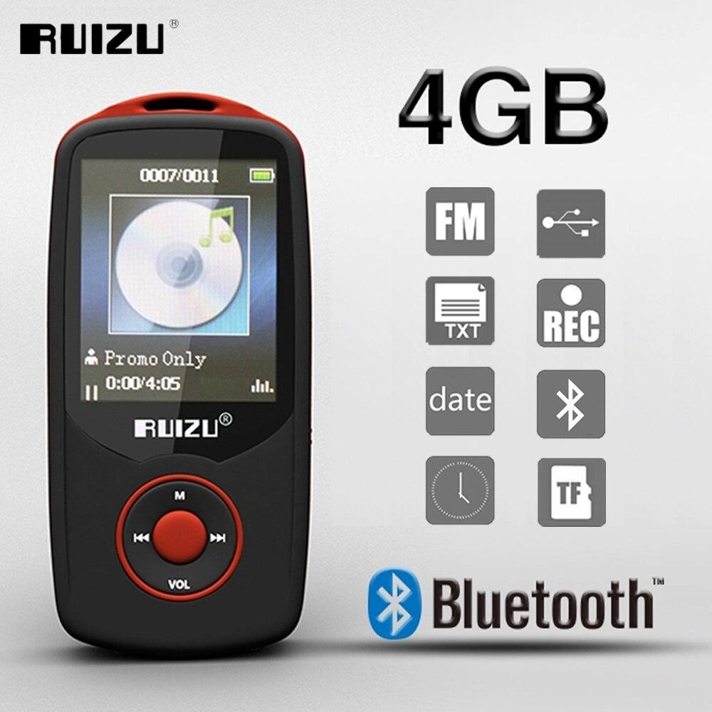 Nuevo reproductor de MP3 deportivo con Bluetooth RUIZU X06 de 4GB con pantalla de 1,8 pulgadas, grabadora sin pérdidas de alta calidad, reproductor de música con E-Book FM