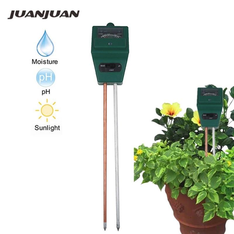 10 unids/lote para jardín planta flor 3 en 1 PH probador suelo agua humedad luz prueba medidor de luminosidad monitor 20% de descuento