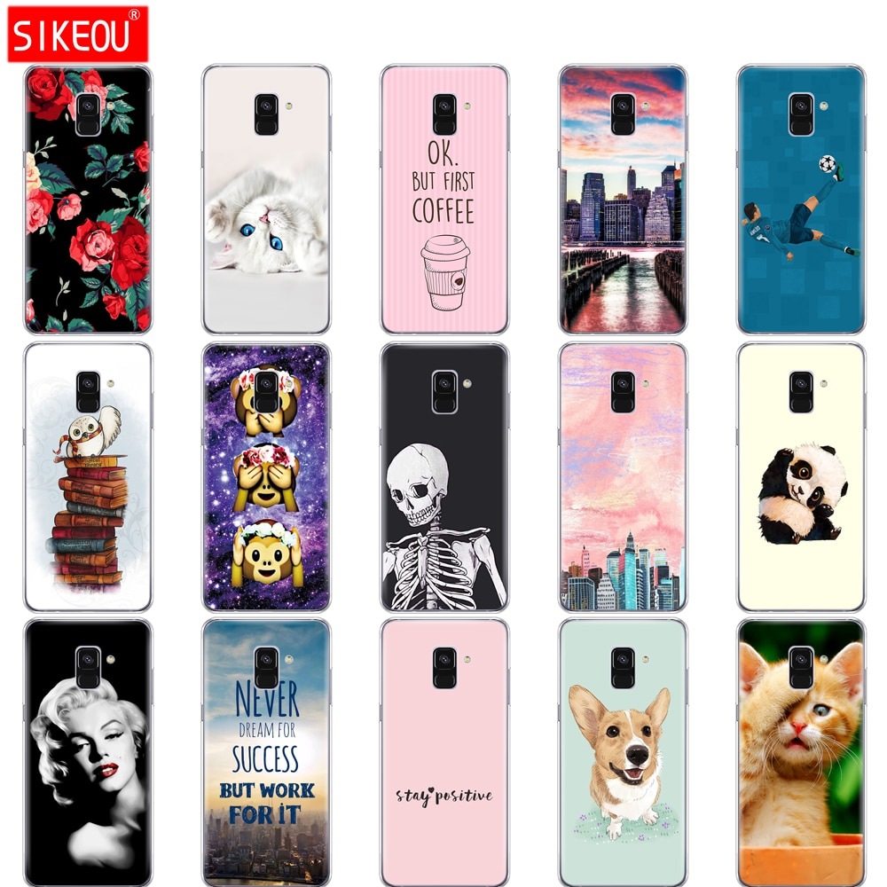 Soft Case Telefone TPU Para Samsung Galaxy A8 2018 A530 A530F silicon Capa Para Samsung A8 Plus 2018 A730 A730F claro Caso bonito