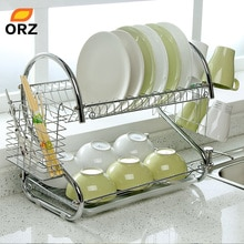 ORZ porte-assiettes en forme de S   Assiette en acier chromé à 2 niveaux, couverts, porte-tasses avec plateau égouttoir en acier, étagère de cuisine
