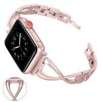 For Apple Watch Band 38mm 42mm 40/44 mm Rhinestone Diamond Women Fashion ladies Smart Watch Metal Band Series 1 2 3 4