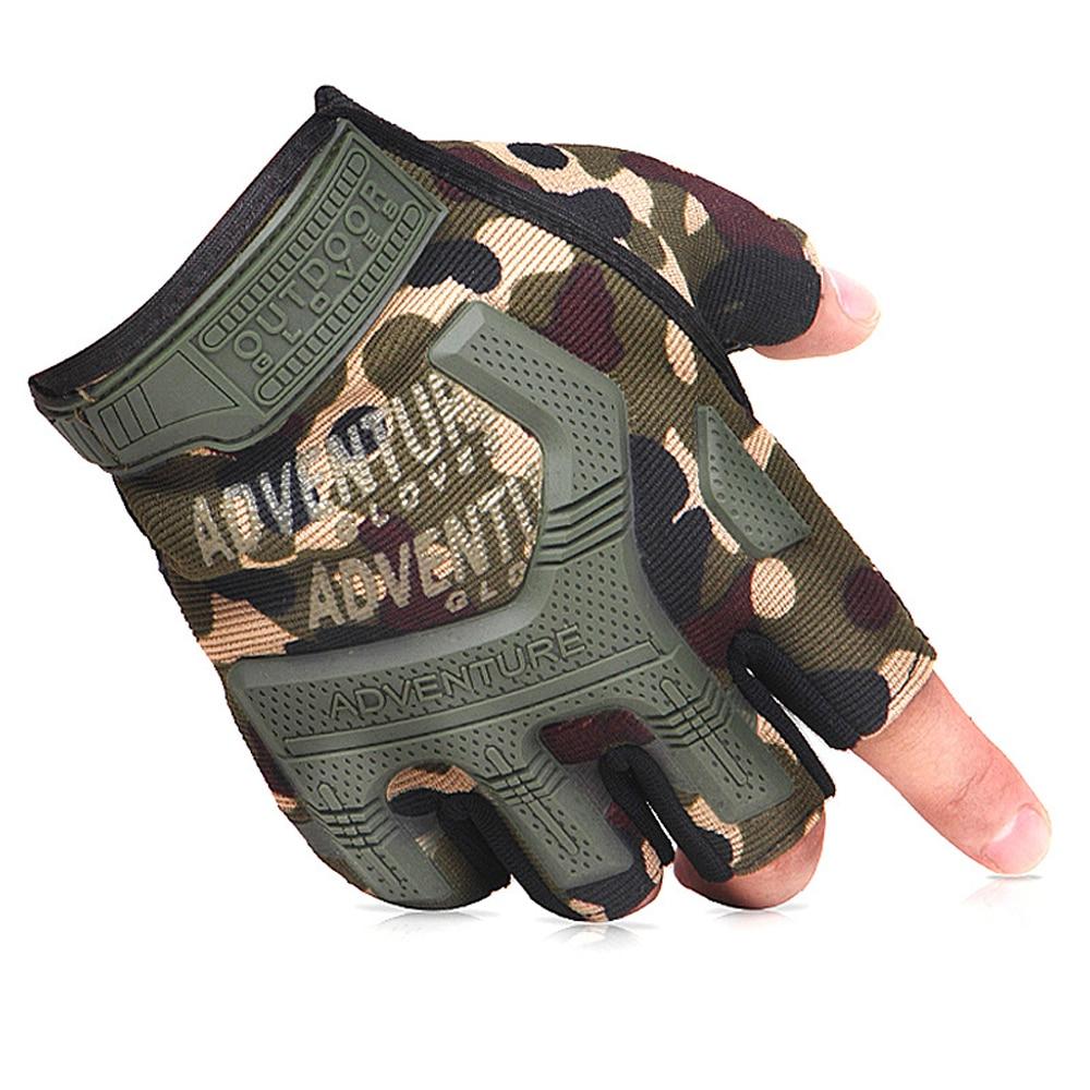 Многоцветные дышащие тактические перчатки с полупальцами для спорта на открытом воздухе, рыбалки, скалолазания, камуфляжные Нескользящие ...