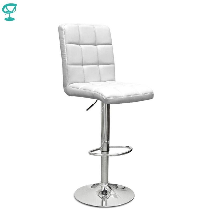 94508 Barneo N-48 эко-кожа кухонный белый стул барный стул с мягким сиденьем на газ-лифте мебель для кухни стул высокий стул для барной стойки кресло для нейл бара доставка в Казахстан бесплатная доставка по России