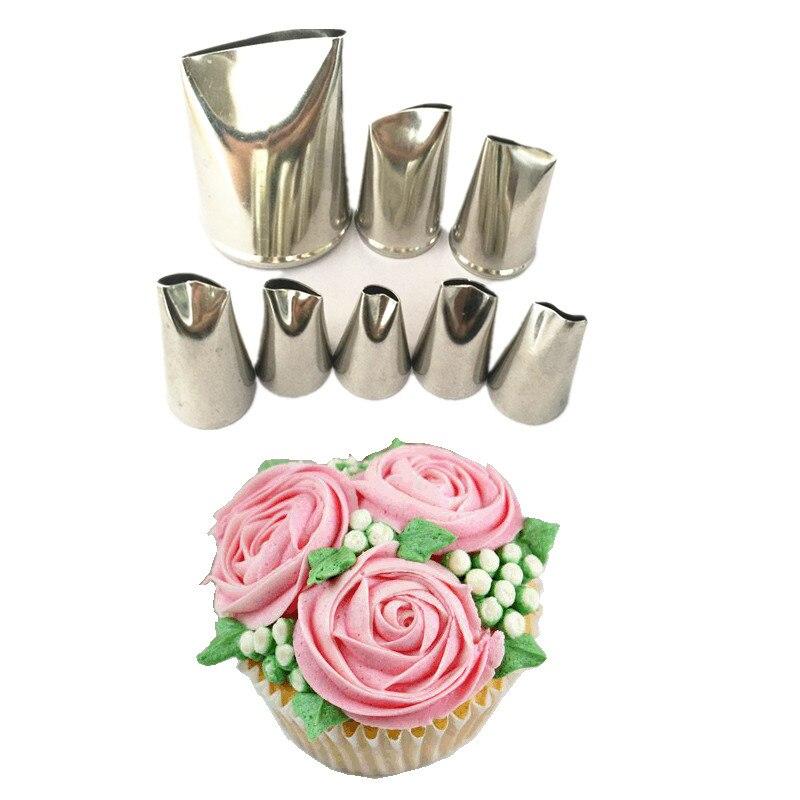 8 Uds pétalo de Rosa Metal crema consejos herramientas de Decoración de Pastel de acero juego de boquillas para manga pastelera pastel crema Decoración Para cupcakes pastelería herramienta