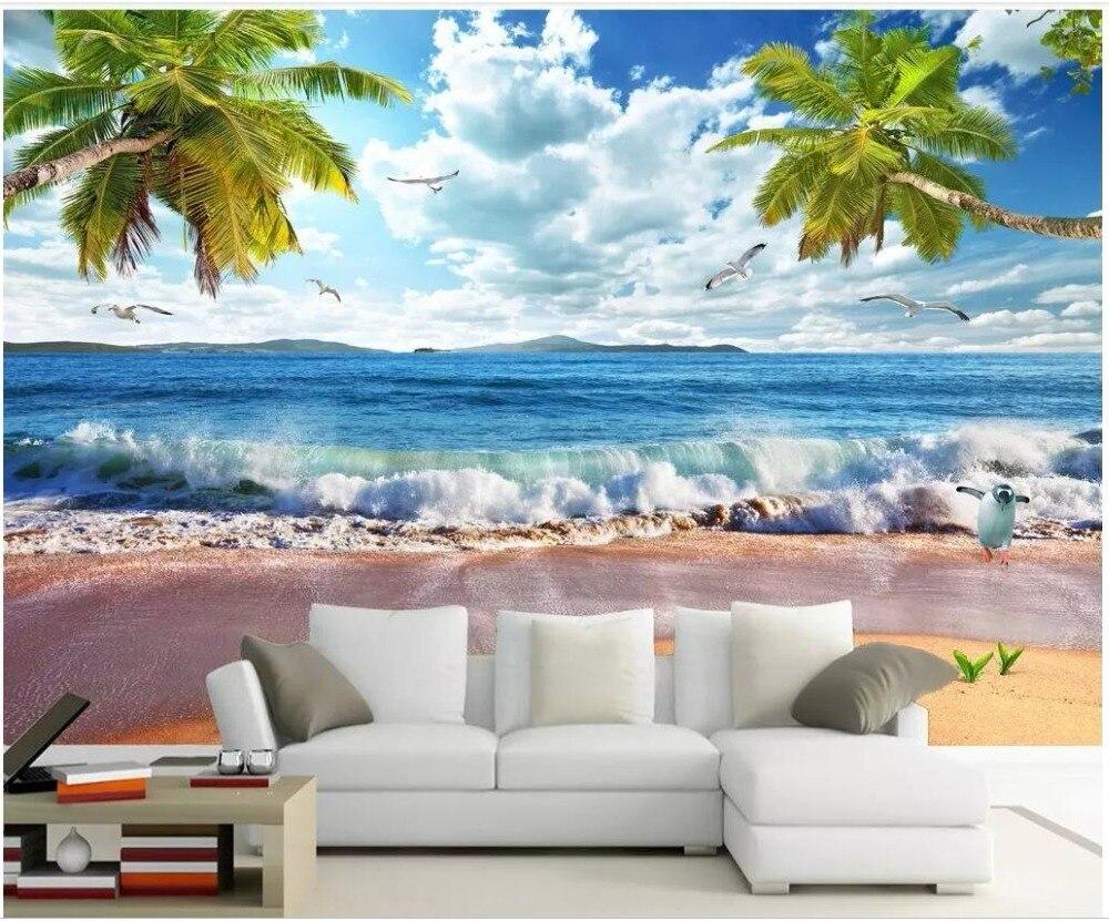 3d papel de parede personalizado foto na parede Spray de Praia Havaí Seascape Ver fundo home decor sala de estar papel de parede para paredes 3 d