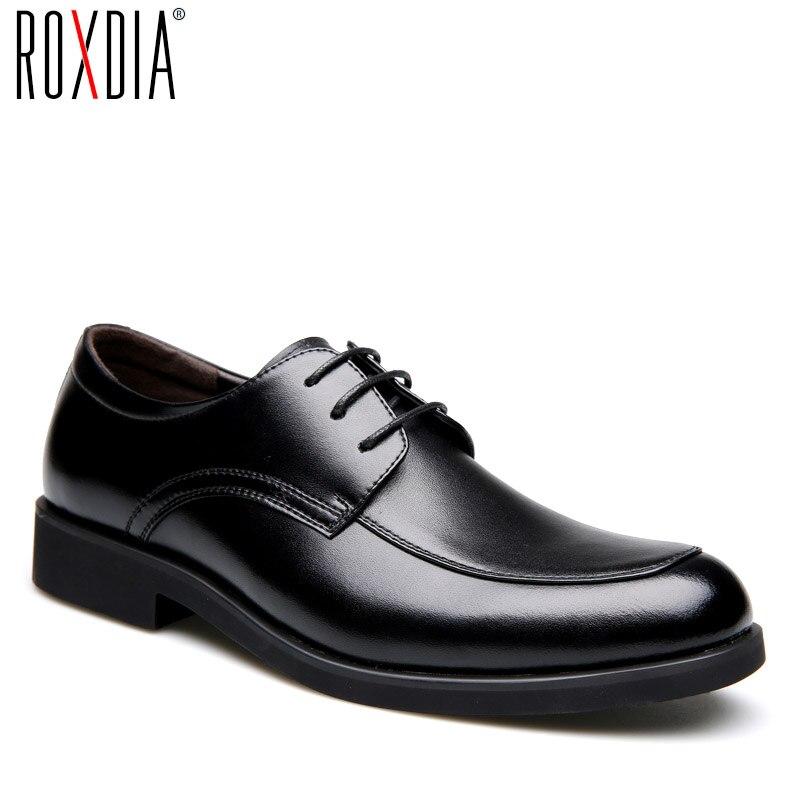 Genuíno dos Homens Sapatos de Vestido Trabalho de Negócios Roxdia Couro Formal Masculino Apartamentos Sapatos Oxford Rxm063 Tamanho 39-44