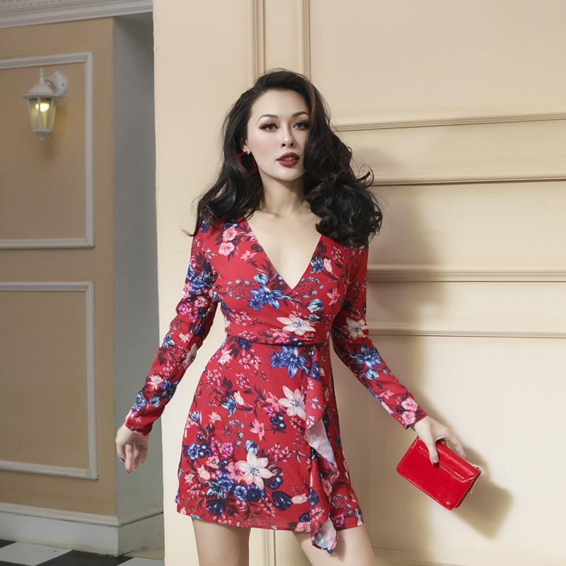 2018 Primavera Elegante Elegante Ruffles Vestido Desenhado Impresso Floral Vestido De Corte Irregular Zipper Placket