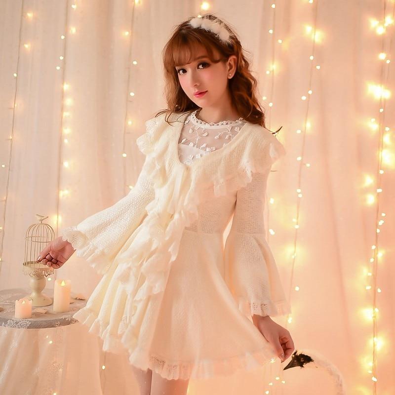 Платье принцессы милое платье в стиле «Лолита» конфеты для дождливой погоды на осень и зиму, утепленная cardigandress Фея flare рукава с оборками Вязание Платье C15CD5905