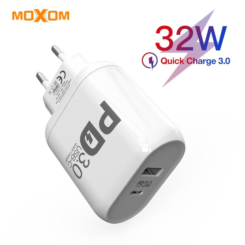 MOXOM 32 W سريعة تهمة 4.0 3.0 شاحن لهواوي 5A PD 4.0 3.0 تهمة سريع ل فون سامسونج شاحن سريع شاحن للكمبيوتر