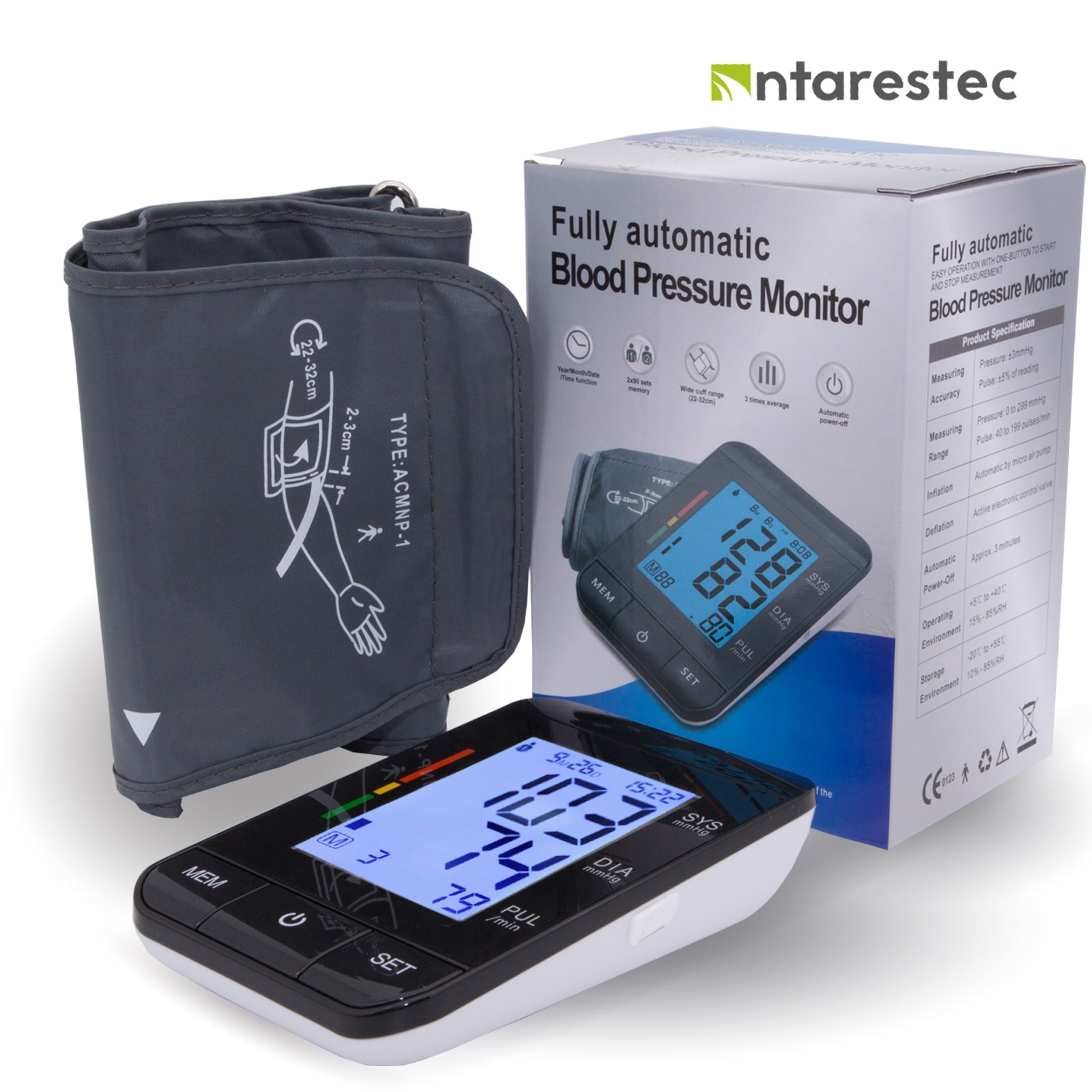 Auto Digital superior Monitor de presión arterial de brazo puño grande medidor de latidos del corazón casa BP salud Antarestec PH20