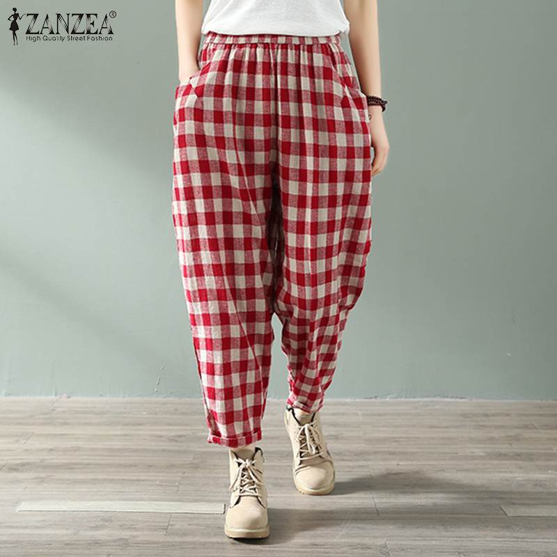 Verano Vintage casual comprobar mujeres Harem pantalones Plaid Long Trouers ZANZEA 2019 cintura elástica recortada mujer bolsillos laterales Pantalon