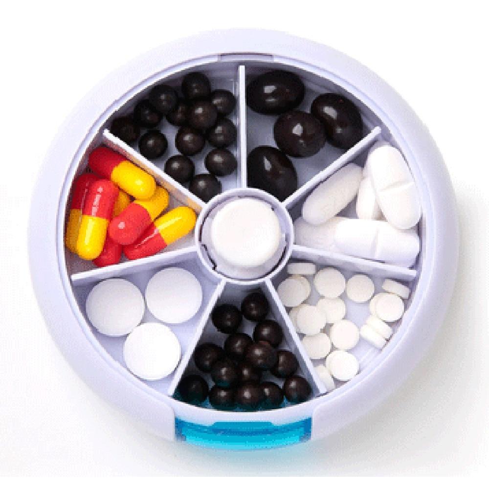 7-Day Round Medicine Pill Vitamin Box Case Storage Dispenser Organizer Holder first aid kit make up plastic wooden  laundry