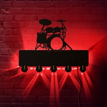 Instrument de musique salle de bain serviette crochets tambour mur LED lumière crochets mur porte vêtements manteau chapeau cintre porte-clés batteur cadeau